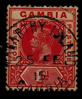 GAMBIA - 1912 1d red struck by central MACARTHY ISLAND cds dated 25.FE.15.