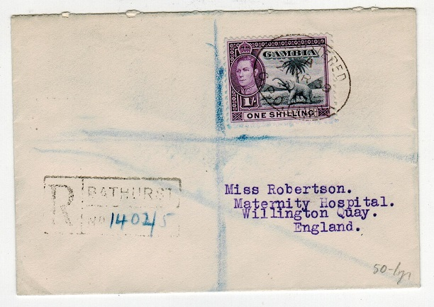 GAMBIA - 1939 1/- rate registered cover to UK used at BATHURST.