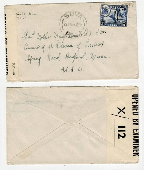 FIJI - 1944 censor cover to USA.