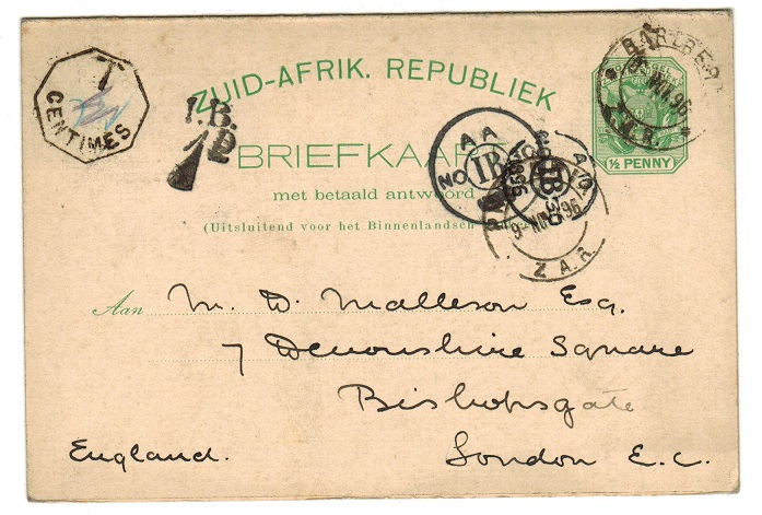 TRANSVAAL - 1896 1/2d+1/2d reply postcard from BARBERTON with T/CENTIMES tax mark.  H&G 5.