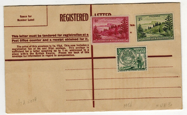 NORFOLK ISLAND - 1947 brown FORMULA RPSE unused officially uprated 1/7d.