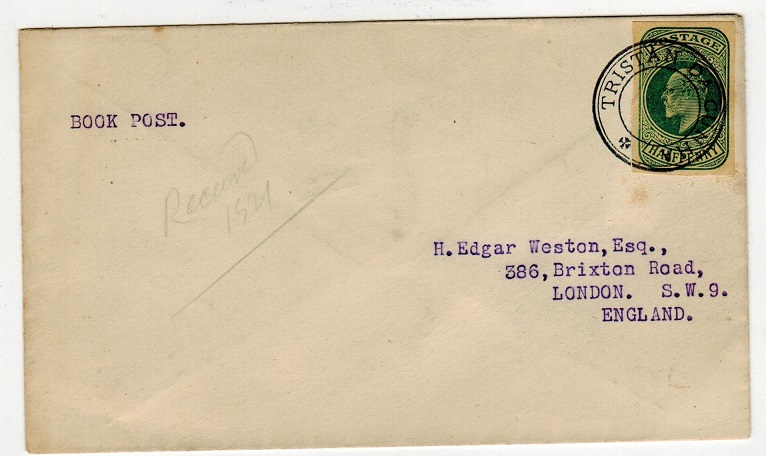 TRISTAN DA CUNHA - 1921 cover to UK with GB 1/2d stationery