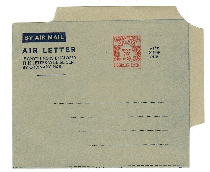 MALAYA - 1954 5c PS air letter unused.  H&G 1.