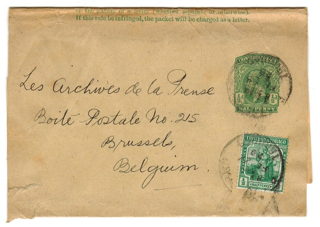 TRINIDAD AND TOBAGO - 1915 1/2d postal stationery wrapper uprated to Belgium. H&G 1.
