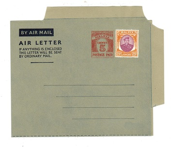 MALAYA (Johore) - 1954 5c PS air letter officially uprated with 25c. Unused.  H&G 1a.