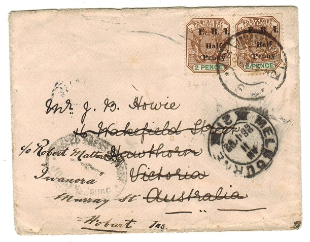 AUSTRALIA - 1902 inward Boer War cover from Transvaal.