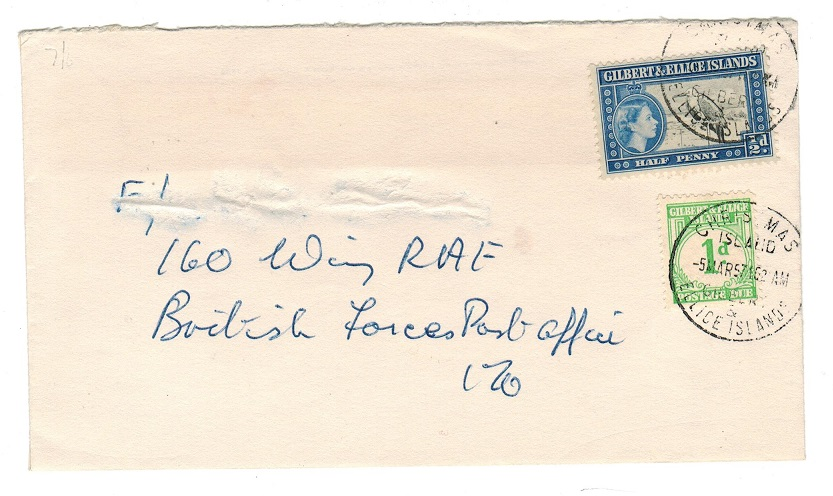 CHRISTMAS ISLANDS - 1957 underpaid military cover with 1d