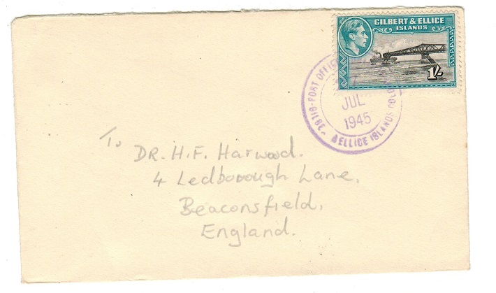 GILBERT AND ELLICE IS - 1945 1/- rate cover to UK used at FUNAFUTI.