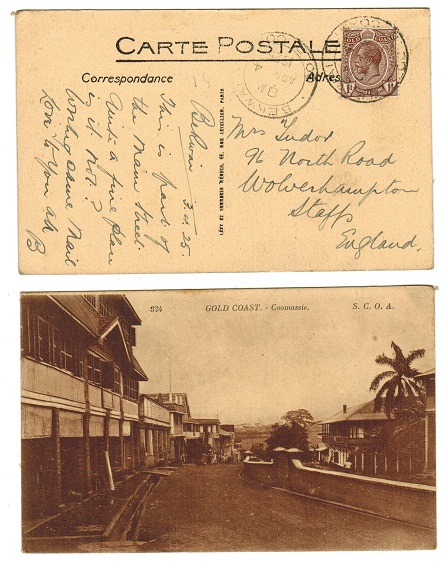 GOLD COAST - 1925 1d rate postcard to UK used at COOMASSIE.