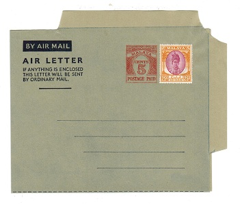 MALAYA (Kedah) - 1954 5c PS air letter officially uprated with 25c. Unused.  H&G1a.