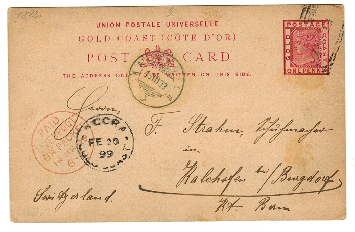 GOLD COAST - 1891 1d PSC to Switzerland struck by scarce ACCRA squared cancel.