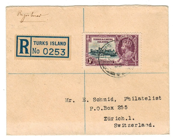 TURKS AND CAICOS IS - 1935 registered cover to Switzerland with 1/-