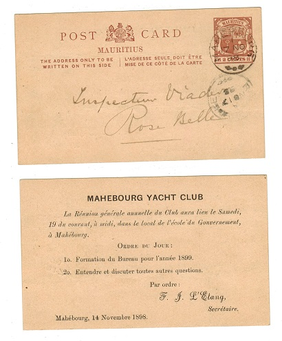 MAURITIUS - 1896 2c PSC used at MAHEBOURG.  H&G 8.