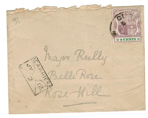 MAURITIUS - 1900 local 4c rate cover used at CUREPIPE with scarcer CARRIER/2 h/s.