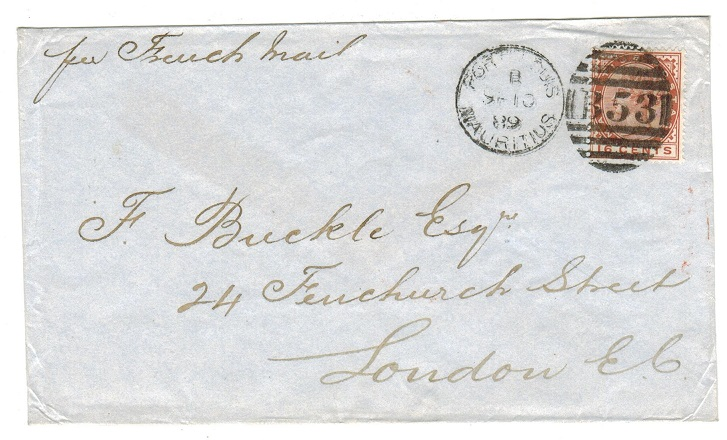 MAURITIUS - 1889 16c rate cover to UK by