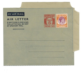 MALAYA (Malacca) - 1954 5c PS air letter officially uprated with 25c. Unused.  H&G1a.