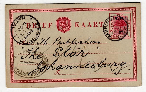 ORANGE RIVER COLONY - 1900 1/2d on 1/2d censored PSC to Johannesburg from HARRISMITH.  H&G 26.