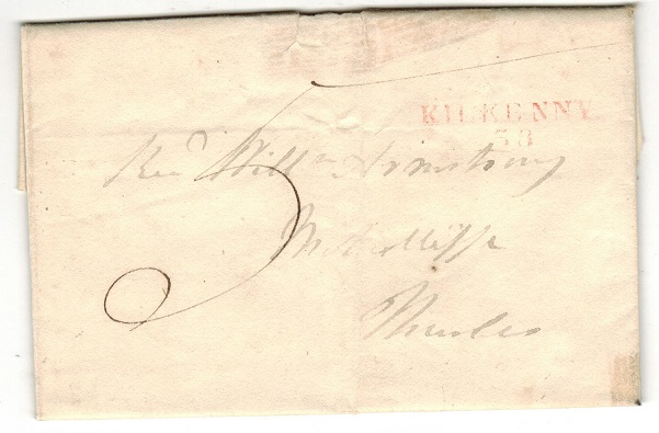 IRELAND - 1815 (circa) entire to Thurles struck by red KILKENNY/58 h/s.