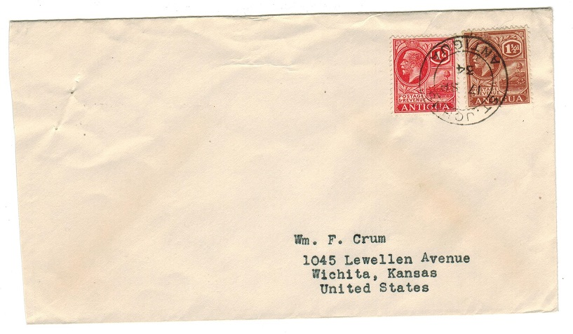 ANTIGUA - 1934 2 1/2d rate cover to USA.