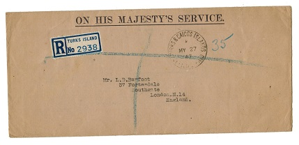 TURKS AND CAICOS IS - 1947 OHMS registered cover to UK with OFFICIAL PAID cancel.