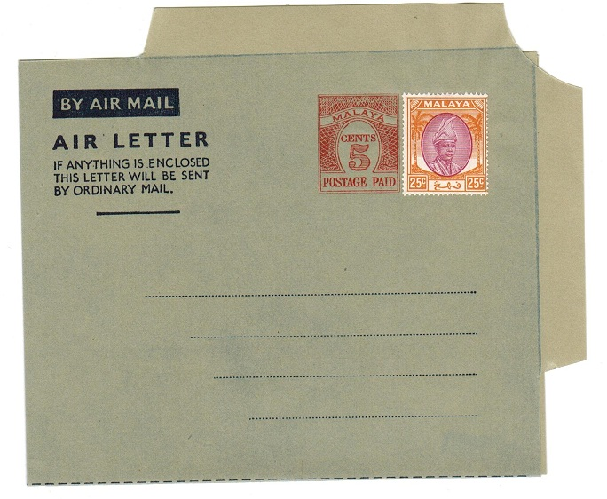 MALAYA (Pahang) - 1954 5c PS air letter officially uprated with 25c. Unused.  H&G 1a.