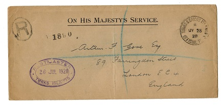 TURKS AND CAICOS IS - 1928 OHMS registered cover to UK with OFFICIAL PAID cancel.