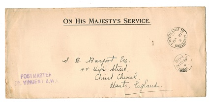 ST.VINCENT - 1934 OHMS cover to UK with OFFICIAL PAID cancel.