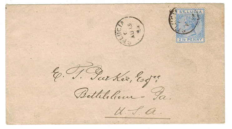 ST.LUCIA - 1895 2 1/2d rate cover to USA.