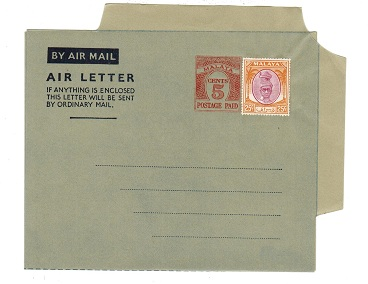 MALAYA (Perak) - 1954 5c PS air letter officially uprated with 25c. Unused.  H&G 1a