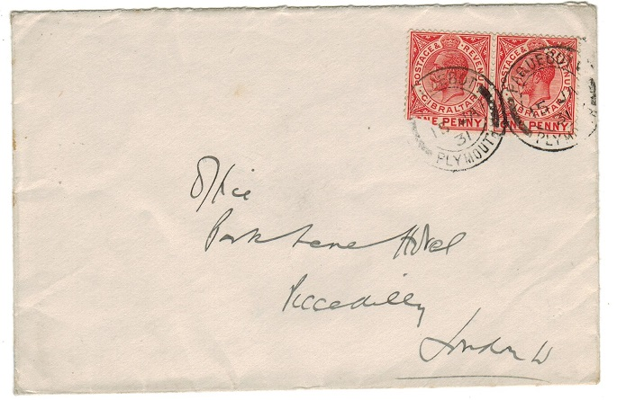 GIBRALTAR - 1931 CHINA/THE PRINCE OF WALES REGT cover to UK with PAQUEBOT/PLYMOUTH cancels.