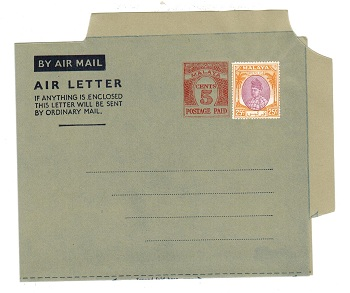 MALAYA (Perlis) - 1954 5c PS air letter officially uprated with 25c. Unused.  H&G 1a