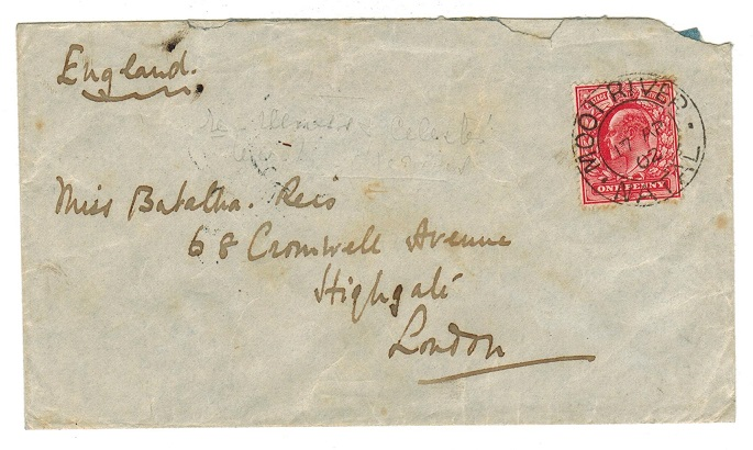 NATAL - 1902 cover to UK with GB 1d adhesive used at MOOI RIVER/NATAL.