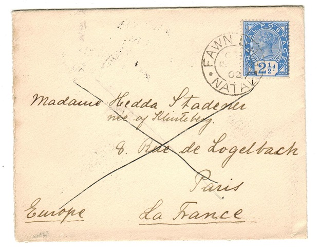 NATAL - 1902 2 1/2d rate cover to France used at FAWN LEAS/NATAL.