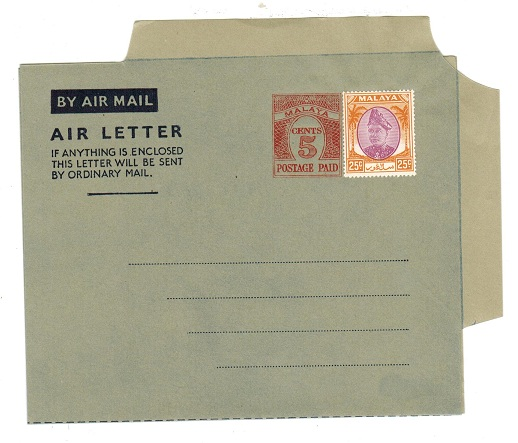 MALAYA (Selangor) - 1954 5c PS air letter officially uprated with 25c. Unused.  H&G 1a