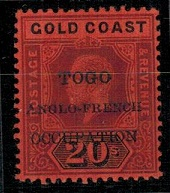 TOGO - 1915 20/- fine mint with variety SMALL F IN OCCUPATION.  SG H46a.