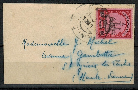 TOGO (German) - 1913 50pfg adhesive on cover to France cancelled at BEINNE.
