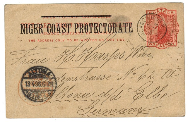 NIGER COAST - 1895 1d PSC to Germany used at FORCADOS RIVER.  H&G 3.