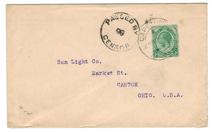 SOUTH AFRICA - 1919 1/2d rate censor cover to USA