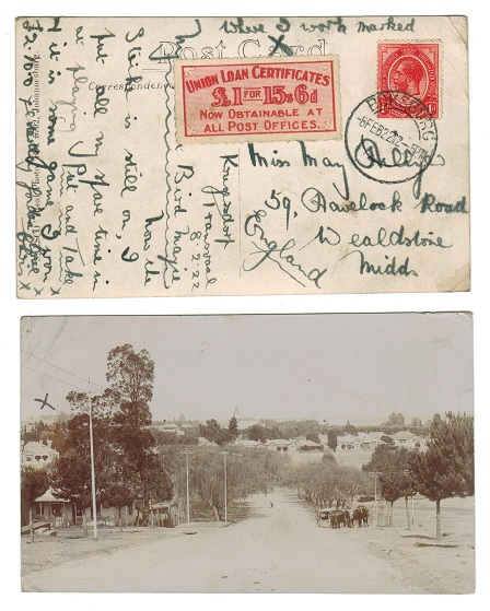SOUTH AFRICA - 1922 1d rate postcard from BOKSBURG with rare UNION LOAN CERTIFICATE label.