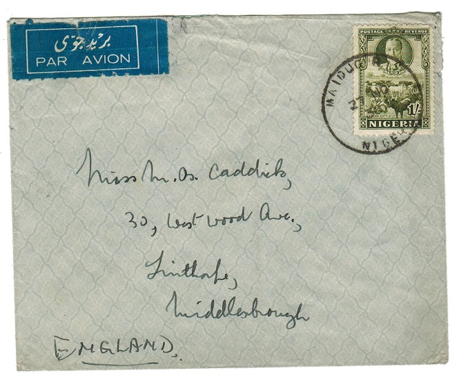 NIGERIA - 1936 1/- rate cover to UK used at MAIDUGURI.