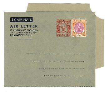 MALAYA (Kelantan) - 1954 5c PS air letter officially uprated with 25c. Unused.  H&G 1a.