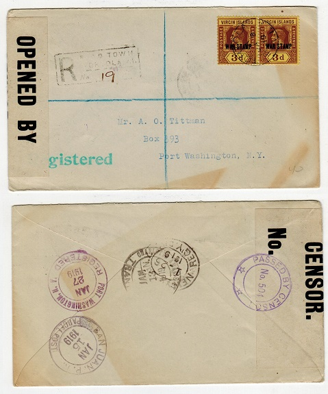 BRITISH VIRGIN ISLANDS - 1919 registered censored cover to USA with 3d WAR STAMP pair.
