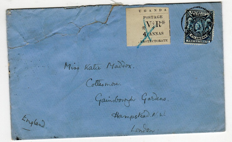 UGANDA - 1898 combination cover to UK with 4a showing SMALL O IN POSTAGE variety.