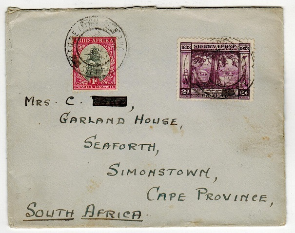 SIERRA LEONE - 1934 cover to South Africa with combination adhesive usage from FREETOWN.