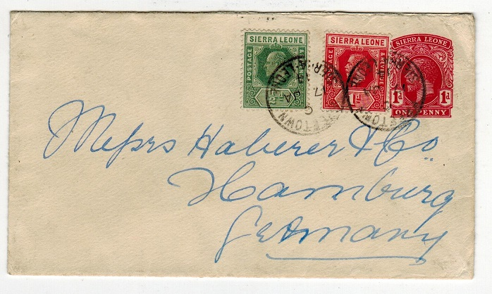 SIERRA LEONE - 1912 1d PSE uprated to Germany. H&G 5.