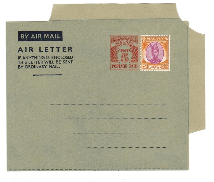 MALAYA (Trengannu) - 1954 5c PS air letter officially uprated with 25c. Unused.  H&G 1a.