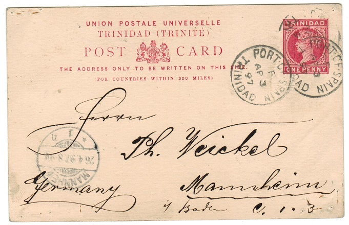 TRINIDAD AND TOBAGO - 1884 1d PSC on
