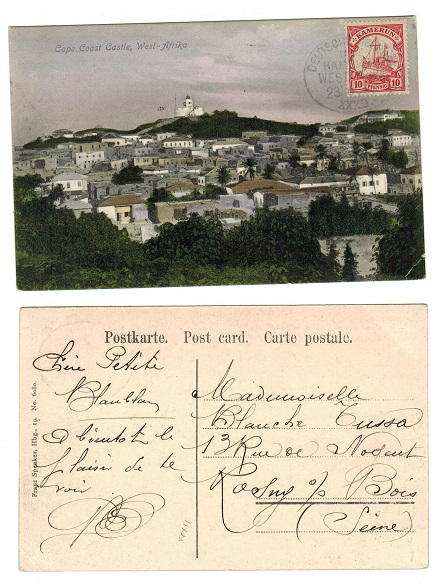 CAMEROONS (German) - 1909 10pfg rate postcard to France with SEEPOST/HAMBURG cancel.