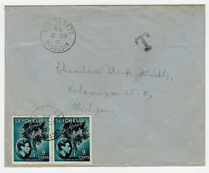 SEYCHELLES - 1948 underpaid cover to USA with