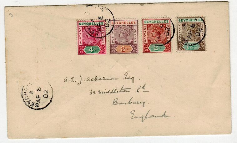 SEYCHELLES - 1902 multi franked cover to UK.